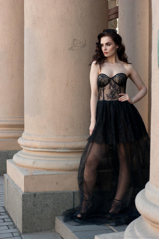 b632ac8f533 Платья ручной работы. Ярмарка Мастеров - ручная работа. Купить Черное платье  с прозрачным корсетом ...