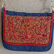 Сумки и аксессуары handmade. Livemaster - original item Crossbody bag: Denim bag with beaded embroidery. Handmade.
