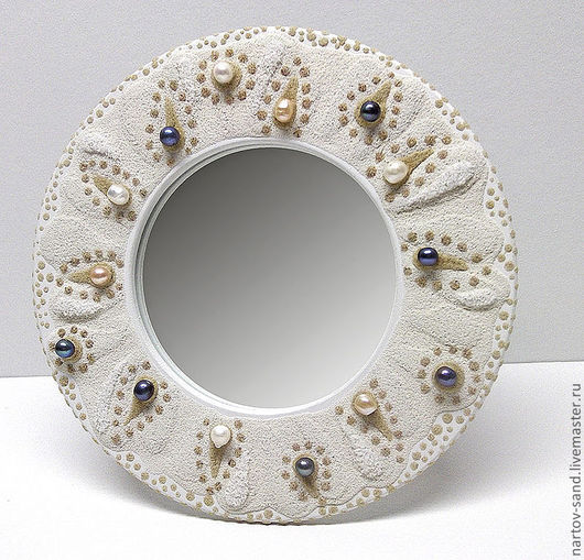 """Зеркала ручной работы. Ярмарка Мастеров - ручная работа. Купить зеркало """"ЖЕМЧУЖНОЕ"""" с декором из песка и жемчуга. Handmade. Белый, зеркало"""