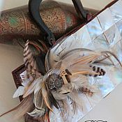 Сумки и аксессуары handmade. Livemaster - original item Evening bag with mother of pearl and feathers.. Handmade.