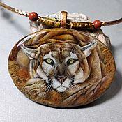 Украшения handmade. Livemaster - original item Pendant: pendant with lacquer miniature Puma. Handmade.