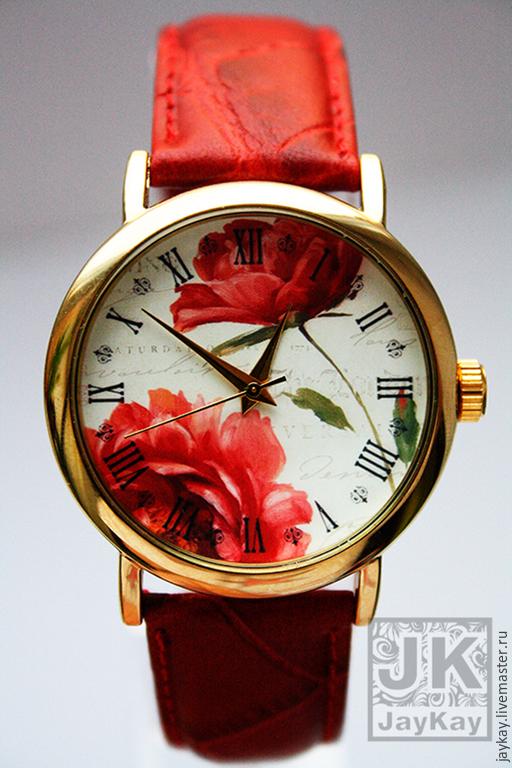 """Часы ручной работы. Ярмарка Мастеров - ручная работа. Купить Часы наручные JK """"Красные розы"""". Handmade. Часы"""