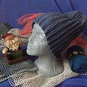 Аксессуары handmade. Livemaster - original item Beanie hat is knitted by cross crocheting yarn half wool. Handmade.
