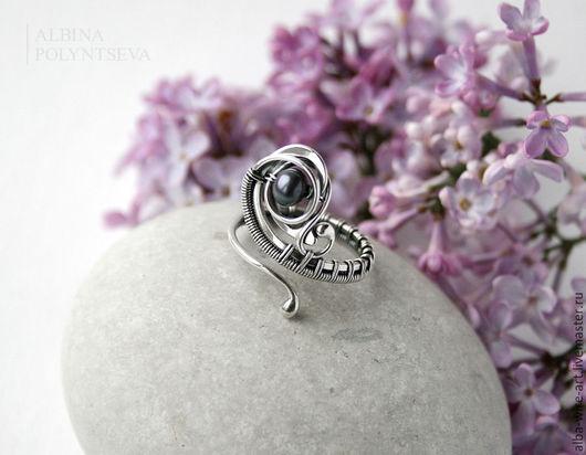 """Кольца ручной работы. Ярмарка Мастеров - ручная работа. Купить Серебряное кольцо """"Леля"""" с черным речным жемчугом. Handmade."""
