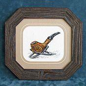 Картины и панно handmade. Livemaster - original item Cross stitch Sherlock Holmes`s pipe. Handmade.