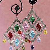 """Украшения ручной работы. Ярмарка Мастеров - ручная работа Серьги """"Colorful rhombus silver"""". Handmade."""
