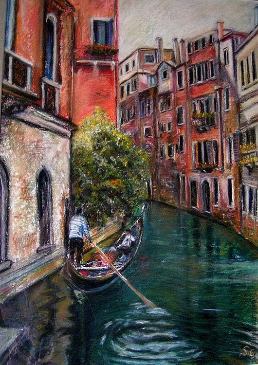 Город ручной работы. Ярмарка Мастеров - ручная работа. Купить Баркарола. Handmade. Венеция, вода, изумрудный цвет, карминный