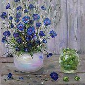 Картины и панно handmade. Livemaster - original item Author`s painting oil / hardboard Cornflowers. Handmade.