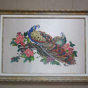 """Картины и панно ручной работы. Ярмарка Мастеров - ручная работа батик """"царские павлины"""". Handmade."""