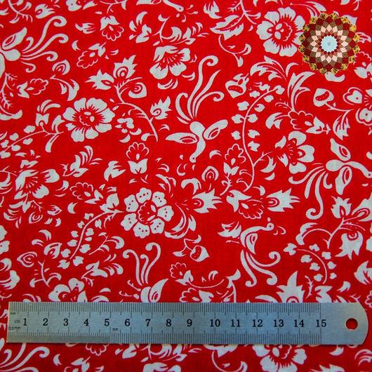 Ткань хлопок `Райские птички на красном`. Код товара: ZT-00042