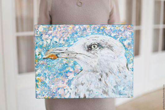 Животные ручной работы. Ярмарка Мастеров - ручная работа. Купить Зимняя чайка. Handmade. Комбинированный, картина маслом, чайка маслом