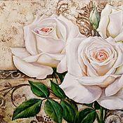 Картины и панно ручной работы. Ярмарка Мастеров - ручная работа Белые розы. Картина маслом.. Handmade.