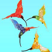 Подарки к праздникам ручной работы. Ярмарка Мастеров - ручная работа Интерьерное стеклянное украшение  - птица Колибри. Handmade.