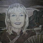 Картины и панно ручной работы. Ярмарка Мастеров - ручная работа Портрет девушки, шпон-маркетри. Handmade.