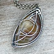 Pendants handmade. Livemaster - original item Monato - Sterling silver pendant with Laguna Agate. Handmade.