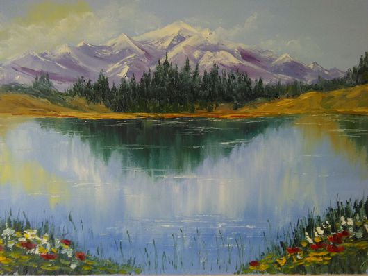 Пейзаж ручной работы. Ярмарка Мастеров - ручная работа. Купить Картина . Пейзаж. ,, Озеро в горах ,,.. Handmade. Пейзаж с водой
