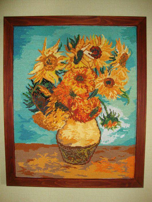 """Картины цветов ручной работы. Ярмарка Мастеров - ручная работа. Купить Картина вышитая крестом """"Подсолнухи.Ван Гог"""". Handmade."""