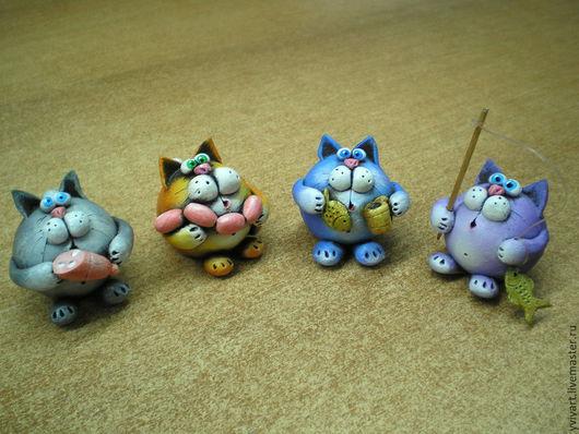"""Миниатюрные модели ручной работы. Ярмарка Мастеров - ручная работа. Купить Керамическая фигурка """"Кот"""". Handmade. Разноцветный, веселый кот"""
