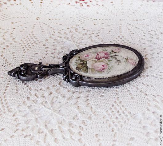 """Зеркала ручной работы. Ярмарка Мастеров - ручная работа. Купить Зеркальце с ручкой  """" Из бабушкиного сундука"""". Handmade."""