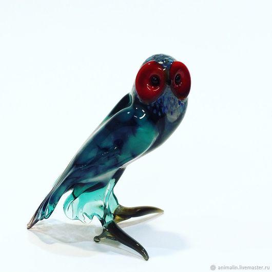 Toy Miniatures handmade. Livemaster - handmade. Buy Decorative figurine made of colored glass Owl Dormidontova.Decor, glass