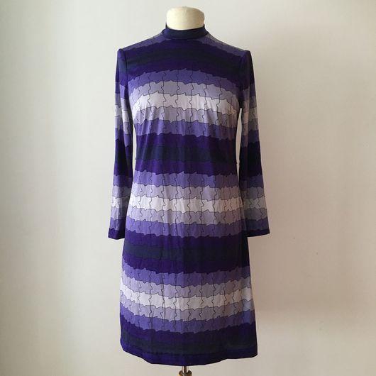 Одежда. Ярмарка Мастеров - ручная работа. Купить Винтажное платье с оп арт принтом  1960'х годов. Handmade. Винтажное платье