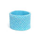 Украшения ручной работы. Ярмарка Мастеров - ручная работа Широкое голубое кольцо из бисера Простое голубое кольцо на палец. Handmade.