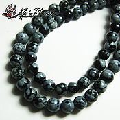 Материалы для творчества handmade. Livemaster - original item Snow obsidian, 4 mm, smooth beads (volcanic glass). Handmade.