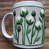 Mugs handmade. Livemaster - original item Mug water Lilies handmade. decor polymer clay. Handmade.