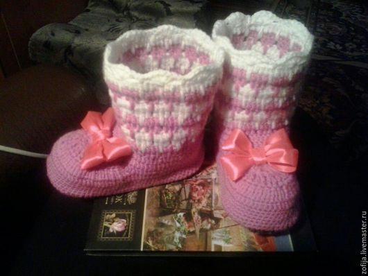 Обувь ручной работы. Ярмарка Мастеров - ручная работа. Купить Детские сапожки. Handmade. Комбинированный, крючком, Сапожки, домашние тапочки