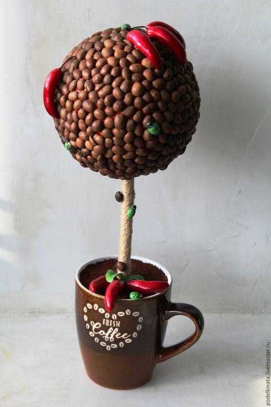 """Топиарии ручной работы. Ярмарка Мастеров - ручная работа. Купить Топиарий """" Кофе с перчиком"""". Handmade. Комбинированный, кофейные зёрна"""
