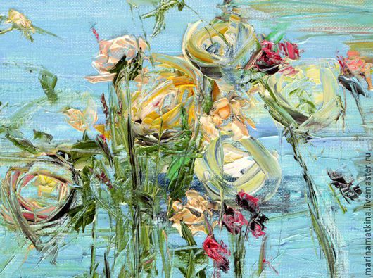 картина маслом с цветами пионы, розы гвоздика, тюльпаны, синяя голубая картина, закат на море, вечерняя картина вечер, картина для отдыха, летняя картина заката, художник Марина Маткина Пермь купить