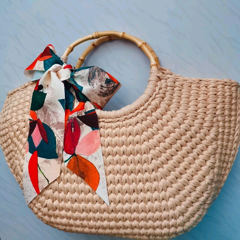Сумка из трикотажной пряжи с бамбуковыми ручками, Классическая сумка, Тасеево,  Фото №1