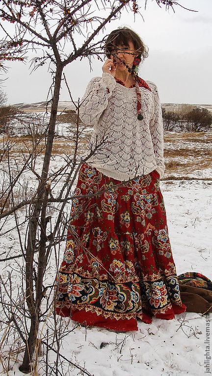 """Юбки ручной работы. Ярмарка Мастеров - ручная работа. Купить Длинная юбка с карманами """"Корица"""". Handmade. Бордовый, Джалайта"""