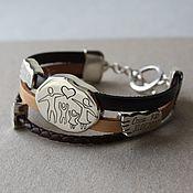 Украшения handmade. Livemaster - original item Leather bracelet with silver Love beads. Handmade.