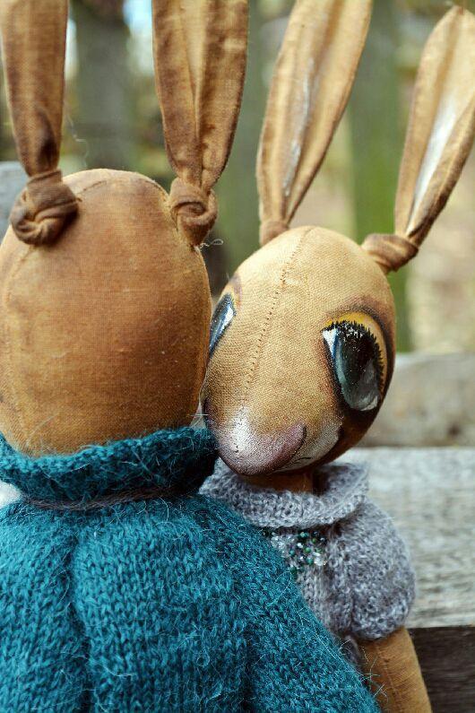 """Коллекционные куклы ручной работы. Ярмарка Мастеров - ручная работа. Купить Зайчики """"Нежность и сладость"""". Handmade. Зайцы, лён"""