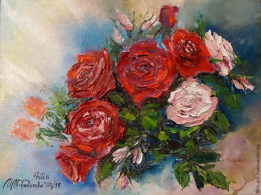Картины цветов ручной работы. Ярмарка Мастеров - ручная работа. Купить Розы Картина маслом на холсте