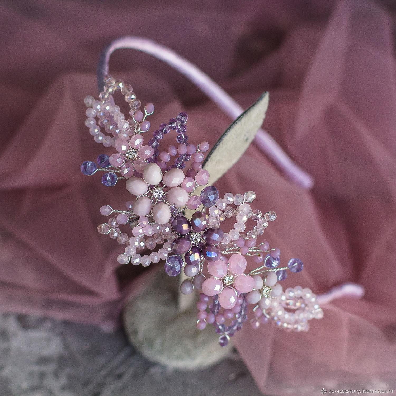Цветочная веточка на ободке в розово-фиолетовых оттенках, Диадемы, Барнаул,  Фото №1