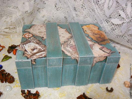 """Подарки для мужчин, ручной работы. Ярмарка Мастеров - ручная работа. Купить Сундук-футляр для бутылки """"Морской"""". Handmade. Сундук, дерево"""