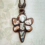 Украшения handmade. Livemaster - original item Dragonfly pendant in leather with agate Madagascar. Handmade.