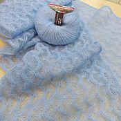Аксессуары ручной работы. Ярмарка Мастеров - ручная работа Нежный шарфик из кид-мохера с шелком Незабудка. Handmade.