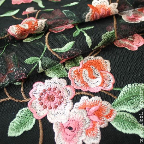 Купить ткань вышивка на сетке москва