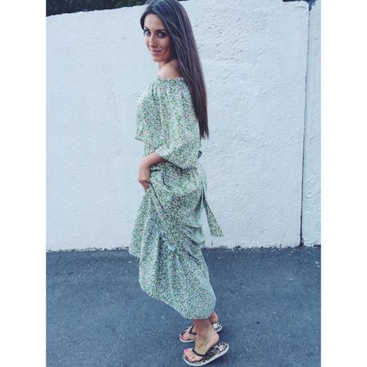 Платье а-ля крестьянка в пол из хлопка от AMODAY