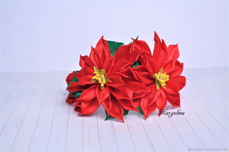 Red Green Ballet Poinsettia Hair Hoop Christmas Girl Flower Hair