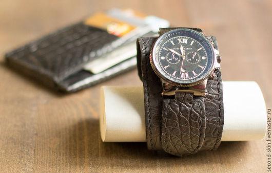 Часы ручной работы. Ярмарка Мастеров - ручная работа. Купить Браслет для часов из крокодила. Handmade. Саймон, часы-браслет