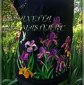 """Одежда handmade. Livemaster - original item Топ с вышивкой """"Ирисы и колибри"""". Handmade."""