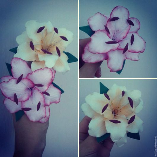 Заколки ручной работы. Ярмарка Мастеров - ручная работа. Купить Лилии из фоамирана. Handmade. Кремовый, резинка с цветком, резинка для волос
