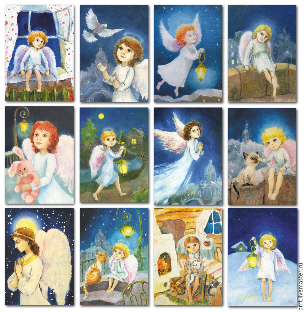 Angels postcards Set of 12 pieces, Cards, St. Petersburg,  Фото №1