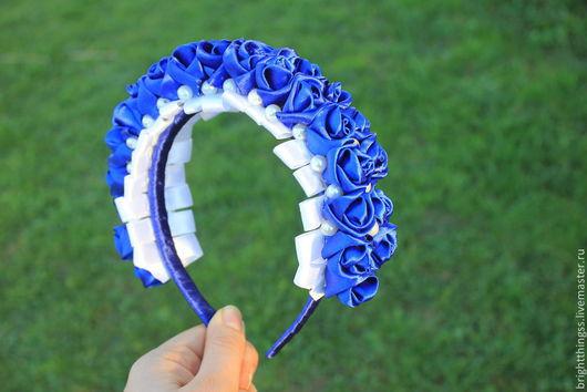 """Диадемы, обручи ручной работы. Ярмарка Мастеров - ручная работа. Купить Ободок """"Полнолуние"""". Handmade. Тёмно-синий, ободок с цветами"""