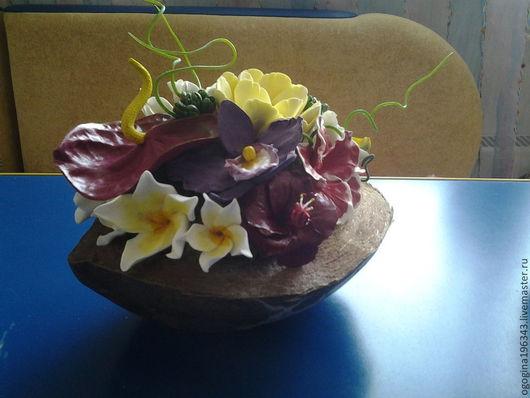 Цветы ручной работы. Ярмарка Мастеров - ручная работа. Купить Тропические цветы в кокосе. Handmade. Полимерная глина, Кокос