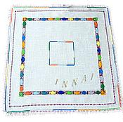 Для дома и интерьера handmade. Livemaster - original item Napkin Game colors blue linen hand embroidery. Handmade.